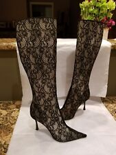CASADEI LACE BLACK TWISTED HEEL made in Italy  BOOTS size 8 super sexy