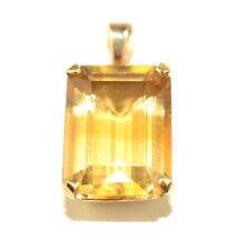 VTG HARRY S BICK 14K YELLOW GOLD 9.3 CARAT FACETED RECTANGULAR CITRINE PENDANT