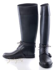 Givenchy Italy Size 39 / 9 Brown Rubber Rain Knee High Boots w/Laces