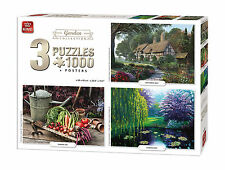 3 IN 1 Triple 3 x 1000 Piece Jigsaw Puzzles The Garden Collection Set 05207