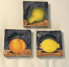 "LOT 3 XENIA TALER Ceramic Art Pottery 4"" Tiles Trivets Fruit - Orange Pear Lemon"