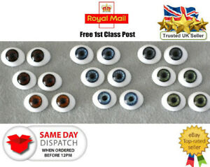 SOLID GLASS EYES OVAL FLAT BACK 22mm for Reborns,Ooaks and other crafts
