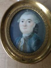 École française XVIIIe-Peinture Miniature-Portrait homme-époque Louis XVI
