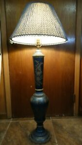RARE VINTAGE METAL ORNATE HAND PAINTED FLOOR TABLE LAMP