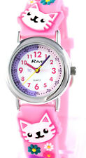 Ravel Small Childs Girls Kids Kittens Time Teacher Watch, Pink 3D Silicone Strap