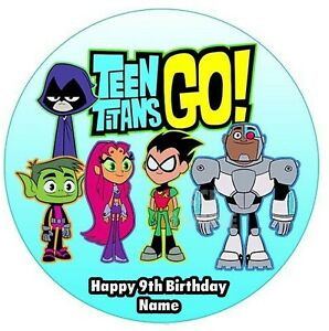 Teen Titans Go! Edible Image personalised icing cake topper party decoration