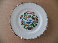 Souvenir Ceramic Mini Plate Netherlands Antilles Plus Brass Plate Display Wire