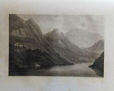 ITALY/ Switzerland. LAKE OF LUGANO. GRABADO ORIGINAL DE HAKEWILL, 1820