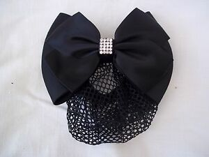 Horse Riding Crystal Dressage Bow and Hair Net - Black - by Equetech