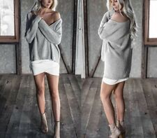Women V-Neck Long Sleeve Knitted Sweater Oversize Loose Casual Tops Off Shoulder