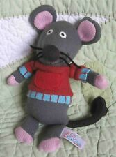 """New listing Latitude Enfant Gray Knit Mouse in Red & Blue Sweater Stuffed Baby Toy 9"""" Euc"""
