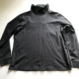 LL Bean Womens Black Long Sleeve Turtleneck Shirt Sz SP A2408