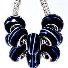 5pcs Black Lampwork White Stripe Murano Glass Bead European Fit charms Bracelet
