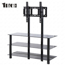 """Tempered Glass TV Stand Media Console w/Bracket 32""""-55"""" Plasma LCD TV in Black"""