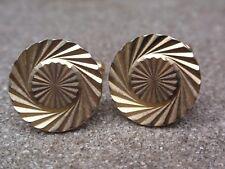 VINTAGE RETRO 1960-70 GOLD PLATED DIAMOND CUT ROUND SHAPE CUFFLINKS