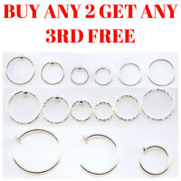 Sterling Silver Nose Ring Hoop Tragus Helix Septum Cartilage Earring Piercing