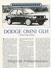 1984 Dodge Omni GLH Original Car Review Print Article J774 Shelby