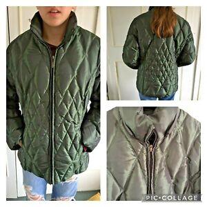 PER UNA - green metallic puffer down & feather filled coat - Size 10