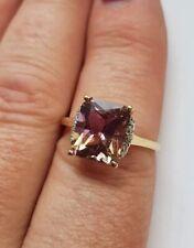 9ct GOLD ANAHI AMETRINE & DIAMOND RING SIZE R/S