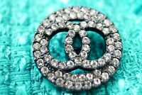 100% Chanel button 1 pieces   metal cc logo 1 inch 25 mm  💔💔💔silver& Crystal'