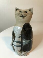 Vintage Cat Sculpture Stoneware Pottery Hand Made