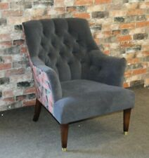 PARKER KNOLL, JOHN LEWIS FITZROVIA CHAIR IN GREY VELVET & CONTRAST FABRIC