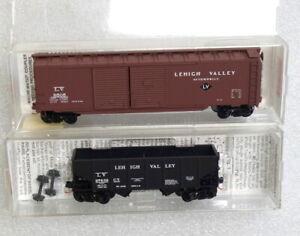 2 Micro Trains Lehigh Valley Cars - 50' Auto Box + Twin Bay Hopper- N Scale