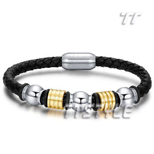 TT Black Leather Two Tone Gold Bead 316L S Steel Magnet Buckle Bangle BR151NEW