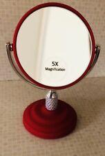 Mini Bathroom Makeup Mirror 5X Magnification Bling Purse Red Travel Flip