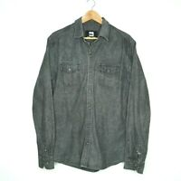 Quicksilver Mens Faded Black Denim Snap Button Up Long Sleeve Shirt Size M