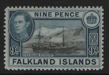 Falkland Islands  SG157  9d Black and Grey-Blue 1938 Unmounted Mint