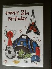FOOTBALL THEMED MALE 21ST BIRTHDAY CARD WITH BLUE AND WHITE ENVELOPE