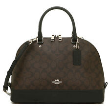 NWT Coach Sierra Signature Satchel Dome Bag PVC Brown Black F58287 Large
