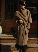 Womens Lapel Collar Wool Blend Belt Trench Coat Outwear Oversize Jacket Long Top