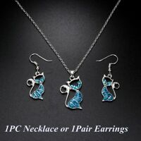 trendy frauen mode opal - kette kette schmuck katzen - anhänger, ohrringe