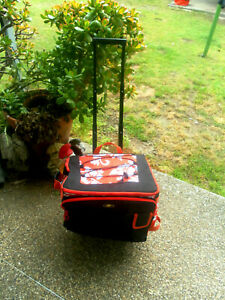 ORANGE/BLACK/WHITE BBQ PICNIC INSULATED COOLER TROLLEY BAG-WHEELS-COMPARTMENTS