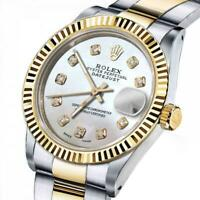 Men's Rolex 36mm Datejust Two Tone White MOP Mother of Pearl Dial with Diamond A