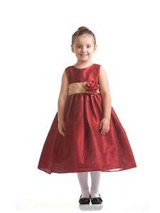 Regal Red Satin w/Gold Sash Flower Girl Holiday Dress, Crayon Kids USA 234