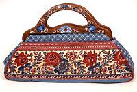 Isabella Fiore Embellished Bermuda Bag Handbag Red White Blue Floral w/ Beading