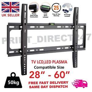 TV Wall Bracket Mount Slim For 28 30 32 40 42 50 60 Inch 3D LCD LED Plasma UK