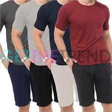 Mens Round Neck T-SHIRT With Shorts Summer Pyjamas Pjs Pajamas Loungewear Set