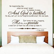 Wall Decal Bible Verse Psalm 1Corinthians 10:13 No Temptation Vinyl Sticker 3610