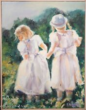 Beautiful Impressionist Oil Painting, Two Girls in White Picking Flowers, Signed