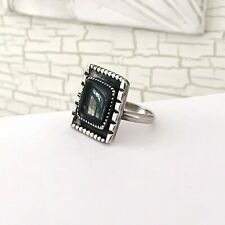 Old Navajo Sterling Silver Onyx Native American Vintage Mens Size 11.5 Ring