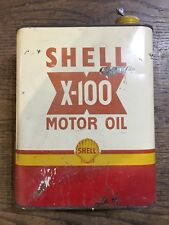 Shell X-100 Motor Oil Tin 2 Litre 60's 70's man cave retro garage workshop