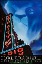THE LION KING MOVIE POSTER Radio City Music Hall Premeire 27x40 DS  ONE SHEET