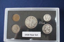 1939 United States Five Coin Silver Year Set Classic Coins in Display Case