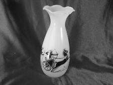 Vintage Egyptian Designed Art Glass Vase ~ horse and carriage