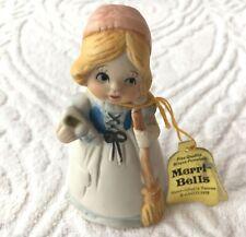 Merri Bells Jasco 1978 Cinderella w Broom Slipper Bisque Porcelain Bell
