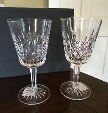 NIB Waterford Crystal LISMORE Lead Crystal Goblet Pair - Stickers, Tags, Signed